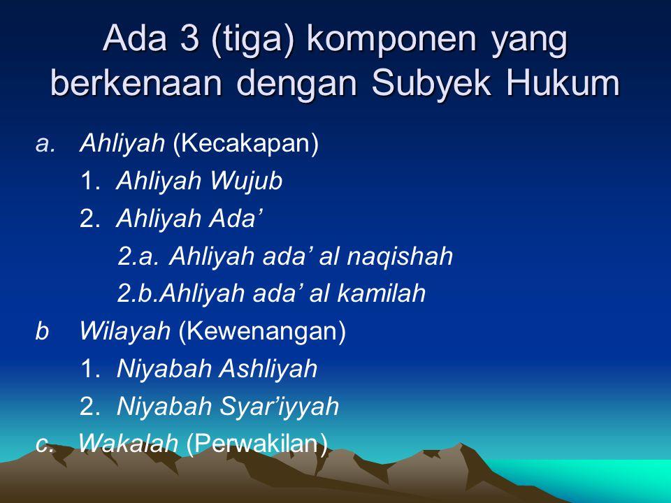 Ada 3 (tiga) komponen yang berkenaan dengan Subyek Hukum a.Ahliyah (Kecakapan) 1. Ahliyah Wujub 2. Ahliyah Ada' 2.a.Ahliyah ada' al naqishah 2.b.Ahliy