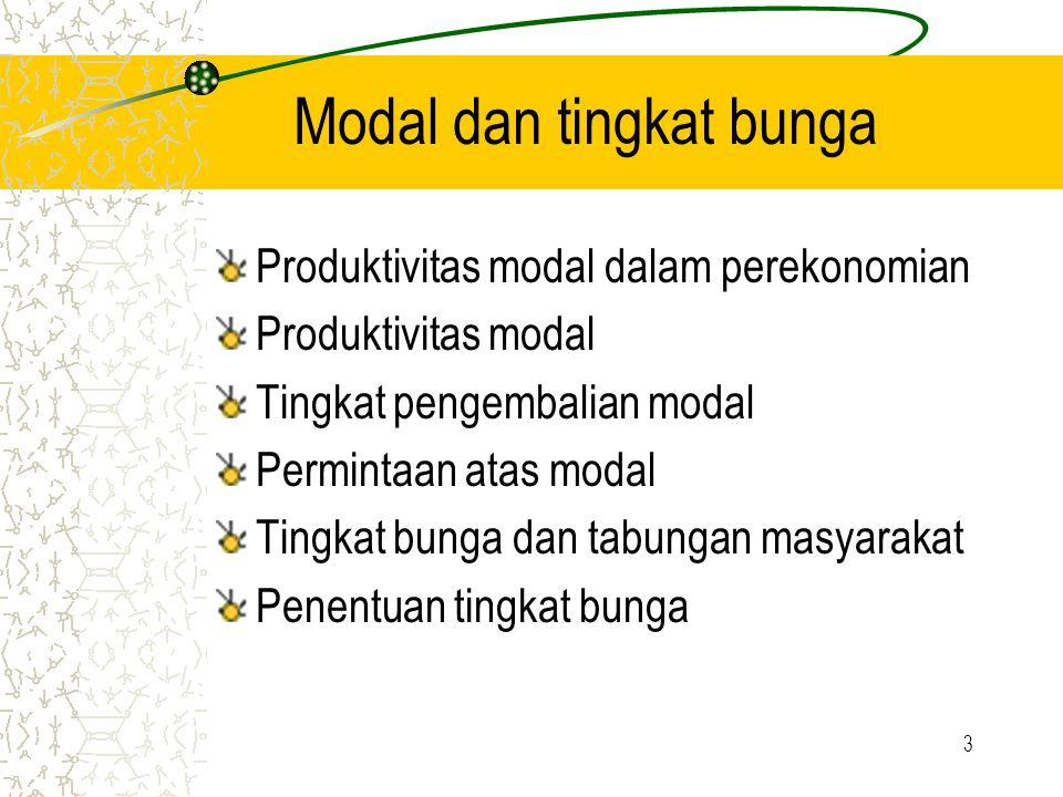 3 Modal dan tingkat bunga Produktivitas modal dalam perekonomian Produktivitas modal Tingkat pengembalian modal Permintaan atas modal Tingkat bunga da
