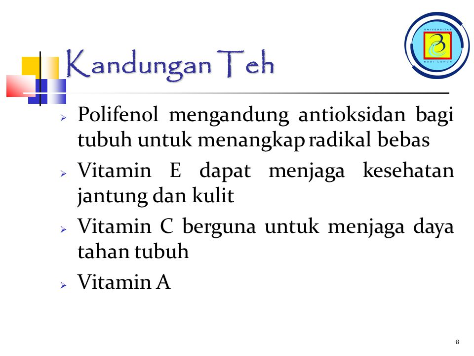 7 Kandungan Teh Kandungan dalam TEH :  Polifenol  Vitamin E  Vitamin C  Vitamin A  Kafein  Teofilin dan Teobromin  Tanin