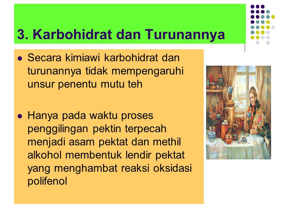 3. Karbohidrat dan Turunannya Secara kimiawi karbohidrat dan turunannya tidak mempengaruhi unsur penentu mutu teh Hanya pada waktu proses penggilingan