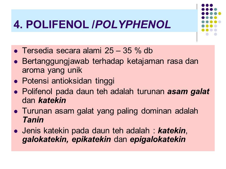 4. POLIFENOL /POLYPHENOL Tersedia secara alami 25 – 35 % db Bertanggungjawab terhadap ketajaman rasa dan aroma yang unik Potensi antioksidan tinggi Po