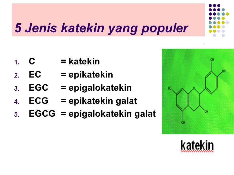 5 Jenis katekin yang populer 1. C = katekin 2. EC = epikatekin 3. EGC= epigalokatekin 4. ECG= epikatekin galat 5. EGCG= epigalokatekin galat