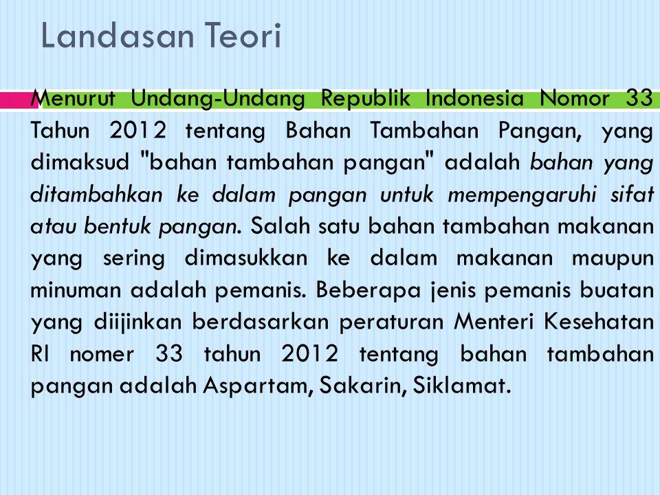 Landasan Teori  Menurut Undang-Undang Republik Indonesia Nomor 33 Tahun 2012 tentang Bahan Tambahan Pangan, yang dimaksud