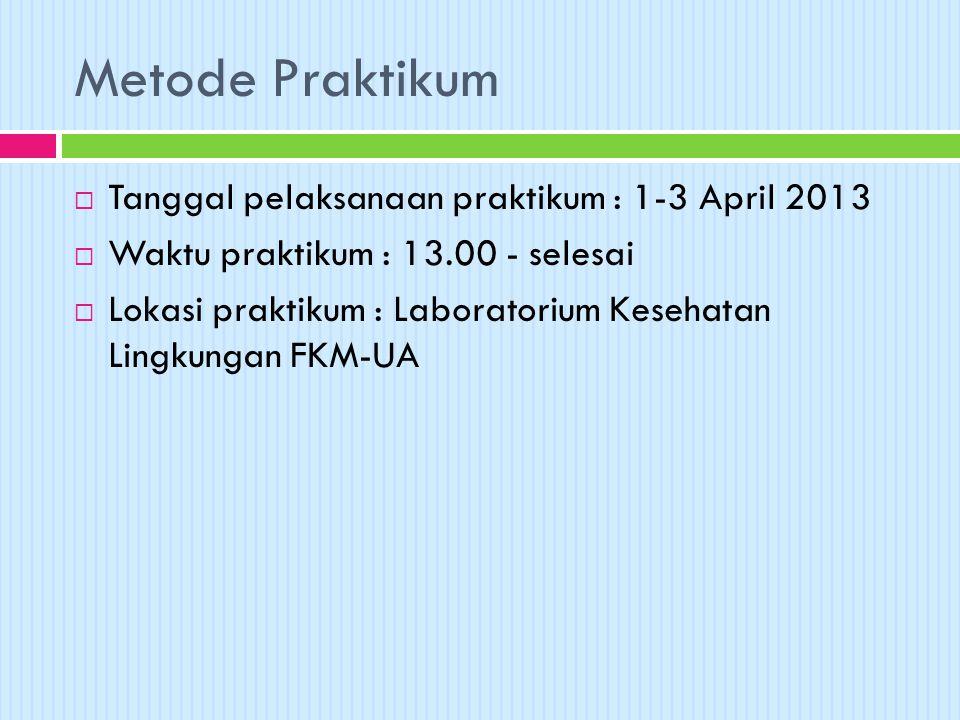 Metode Praktikum  Tanggal pelaksanaan praktikum : 1-3 April 2013  Waktu praktikum : 13.00 - selesai  Lokasi praktikum : Laboratorium Kesehatan Ling