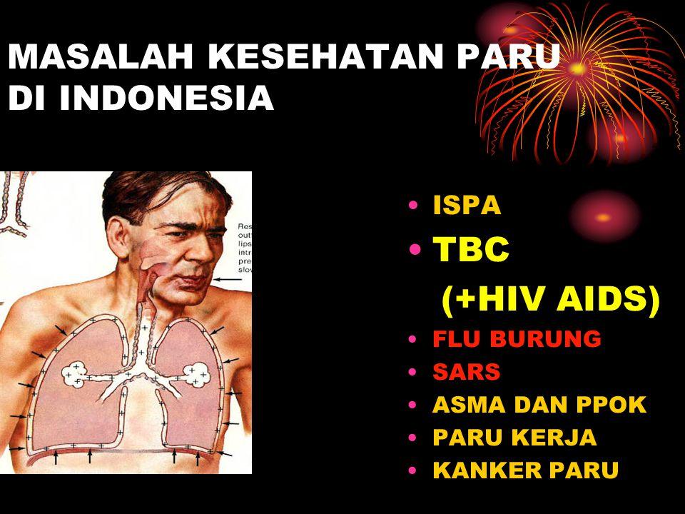 MASALAH KESEHATAN PARU DI INDONESIA ISPA TBC (+HIV AIDS) FLU BURUNG SARS ASMA DAN PPOK PARU KERJA KANKER PARU