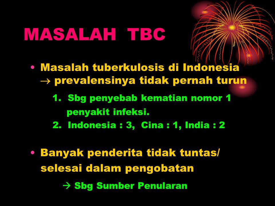 MASALAH TBC Masalah tuberkulosis di Indonesia  prevalensinya tidak pernah turun 1. Sbg penyebab kematian nomor 1 penyakit infeksi. 2. Indonesia : 3,