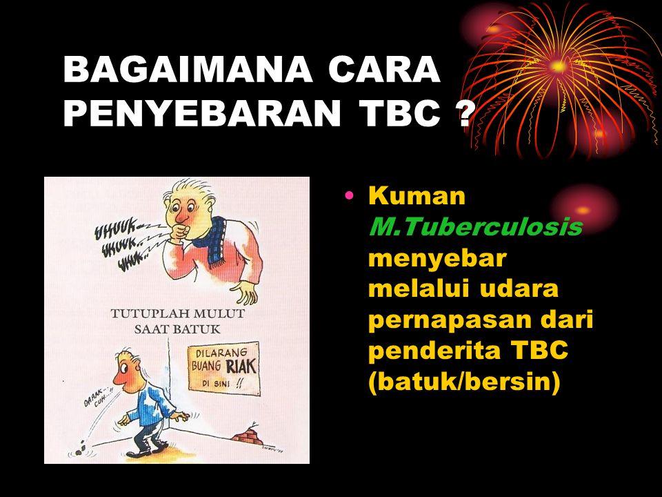 BAGAIMANA CARA PENYEBARAN TBC ? Kuman M.Tuberculosis menyebar melalui udara pernapasan dari penderita TBC (batuk/bersin)