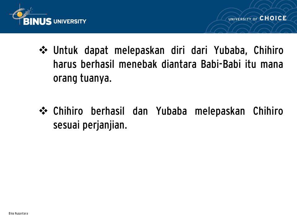 Bina Nusantara  Untuk dapat melepaskan diri dari Yubaba, Chihiro harus berhasil menebak diantara Babi-Babi itu mana orang tuanya.
