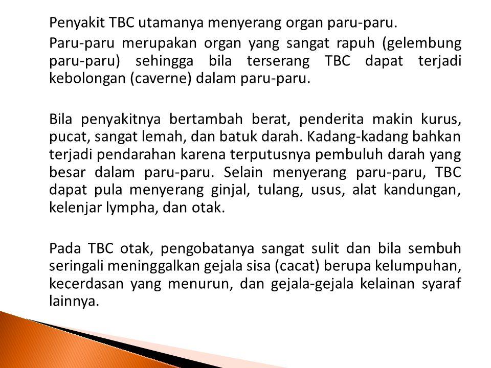 Penyakit TBC utamanya menyerang organ paru-paru. Paru-paru merupakan organ yang sangat rapuh (gelembung paru-paru) sehingga bila terserang TBC dapat t