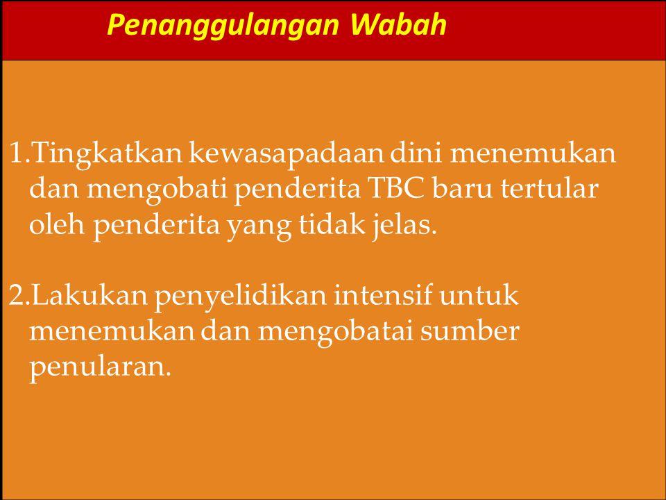 Penanggulangan Wabah 1.Tingkatkan kewasapadaan dini menemukan dan mengobati penderita TBC baru tertular oleh penderita yang tidak jelas. 2.Lakukan pen