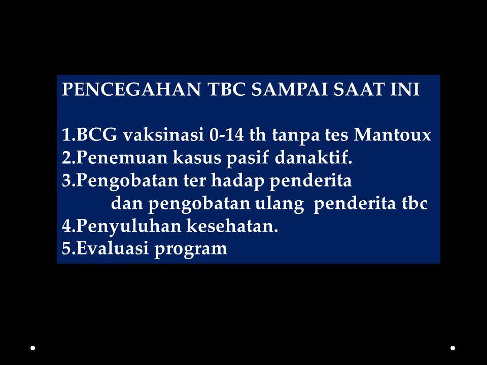 PENCEGAHAN TBC SAMPAI SAAT INI 1.BCG vaksinasi 0-14 th tanpa tes Mantoux 2.Penemuan kasus pasif danaktif. 3.Pengobatan ter hadap penderita dan pengoba