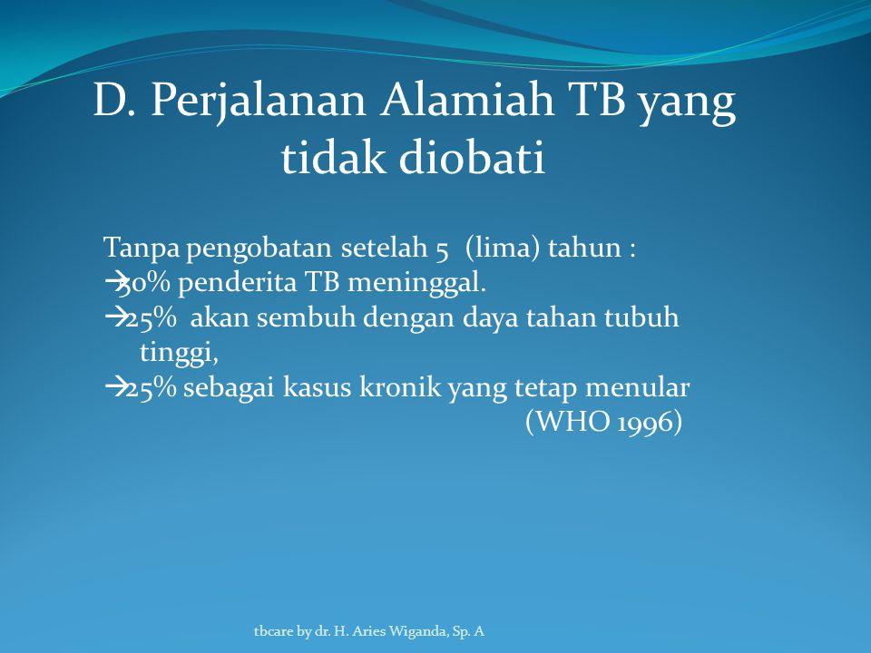 C. Komplikasi Pada Penderita Tuberculosis Hemoptisis Berat (pendarahan dari saluran nafas bawah) mengakibakan kematian karena syok hipovolemik (tersum