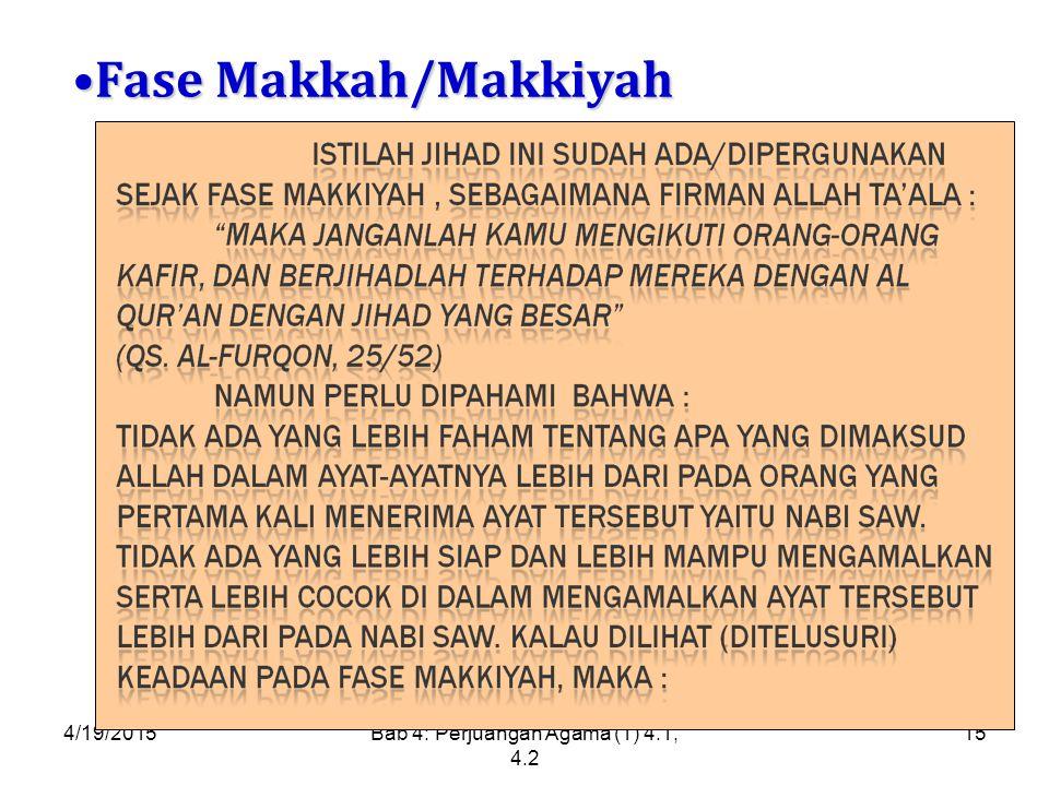 4/19/2015Bab 4: Perjuangan Agama (1) 4.1, 4.2 15 Fase Makkah/MakkiyahFase Makkah/Makkiyah