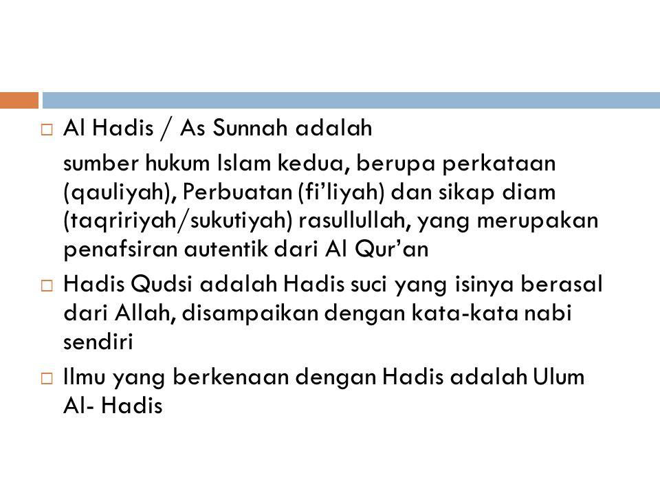 AL HADIS/AS SUNNAH  DALAM PERKATAAN SEHARI-HARI, HADIS = SUNNAH Ada yang membedakan Hadis dan Sunnah  Sunnah = adat istiadat atau tradisi (adat isti