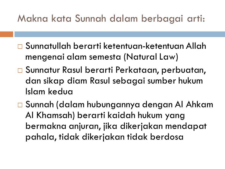  Al Hadis / As Sunnah adalah sumber hukum Islam kedua, berupa perkataan (qauliyah), Perbuatan (fi'liyah) dan sikap diam (taqririyah/sukutiyah) rasull