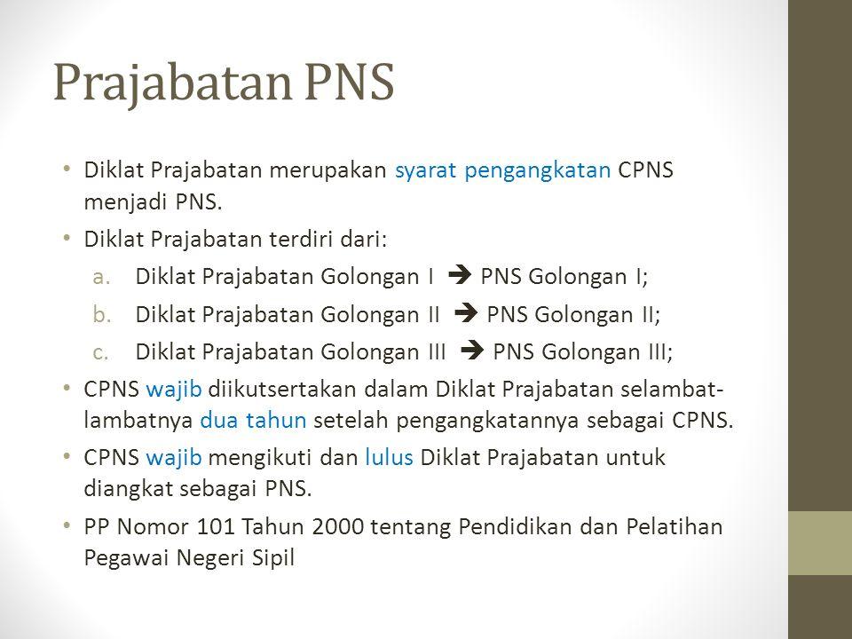 Prajabatan PNS Diklat Prajabatan merupakan syarat pengangkatan CPNS menjadi PNS. Diklat Prajabatan terdiri dari: a.Diklat Prajabatan Golongan I  PNS