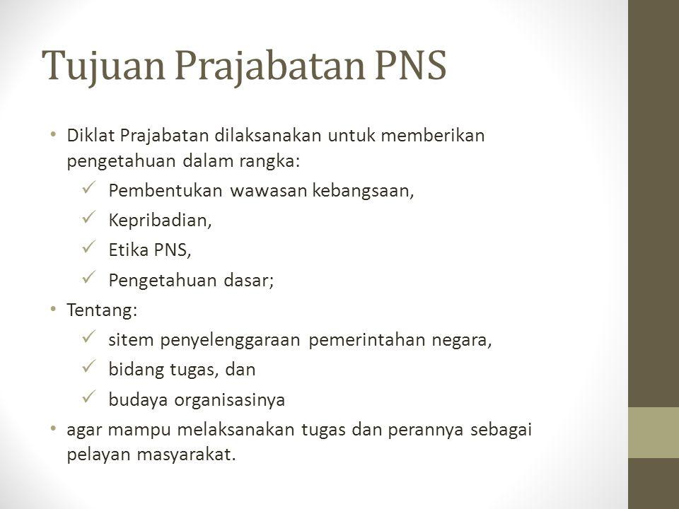 Tujuan Prajabatan PNS Diklat Prajabatan dilaksanakan untuk memberikan pengetahuan dalam rangka: Pembentukan wawasan kebangsaan, Kepribadian, Etika PNS