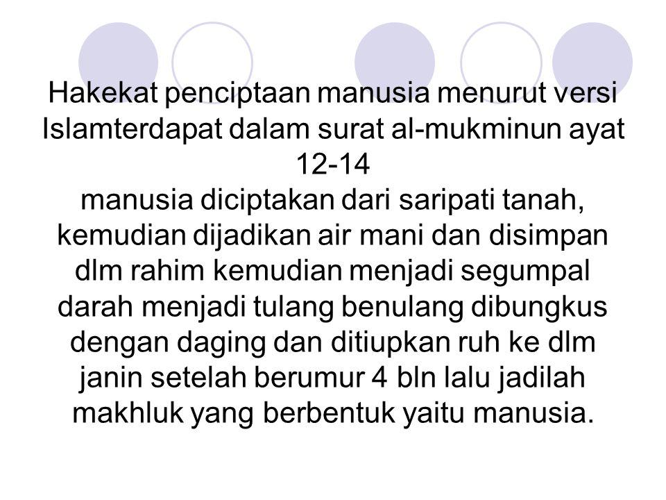 Hakekat penciptaan manusia menurut versi Islamterdapat dalam surat al-mukminun ayat 12-14 manusia diciptakan dari saripati tanah, kemudian dijadikan a