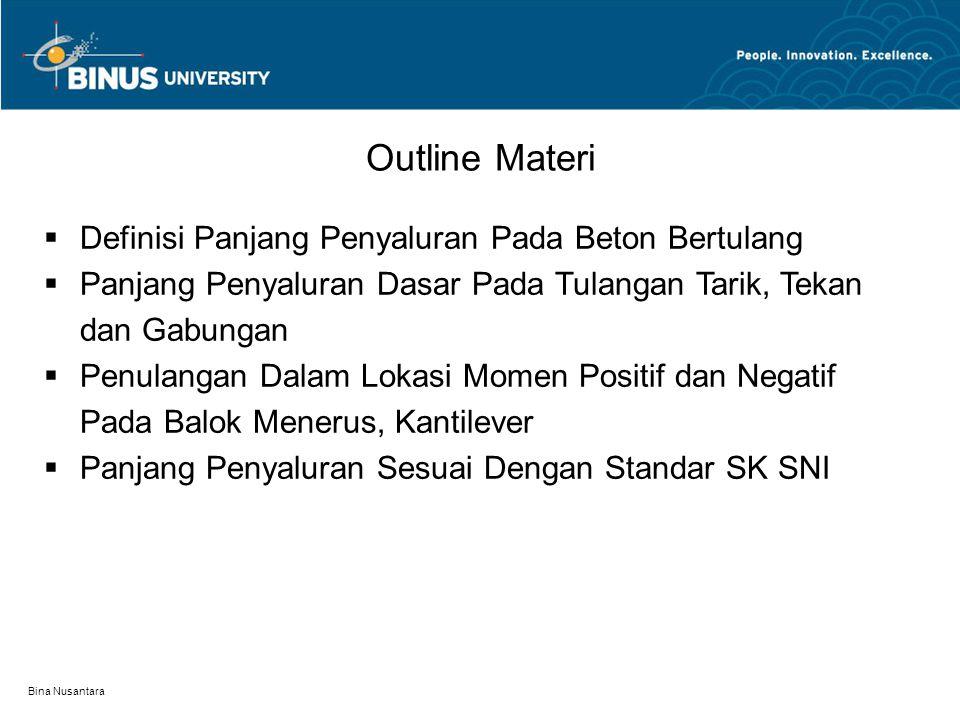 Bina Nusantara Definisi Panjang Penyaluran Pada Beton Bertulang