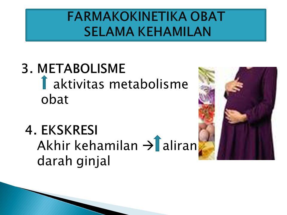 1.Sifat fisikokimiawi obat 2.Kecepatan obat untuk melintasi plasenta & mencapai sirkulasi janin 3.Lamanya pemaparan terhadap obat FAKTOR YANG MEMPENGARUHI MASUKNYA OBAT KE PLASENTA