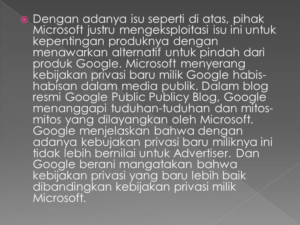  Dengan adanya isu seperti di atas, pihak Microsoft justru mengeksploitasi isu ini untuk kepentingan produknya dengan menawarkan alternatif untuk pindah dari produk Google.