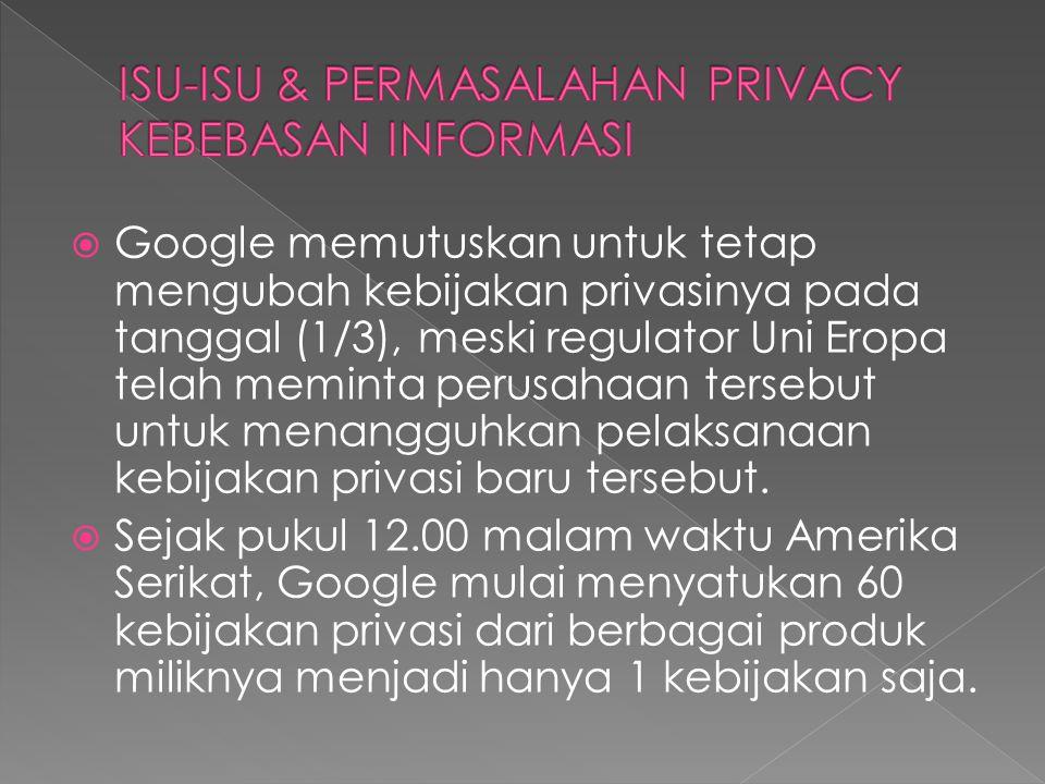  Google memutuskan untuk tetap mengubah kebijakan privasinya pada tanggal (1/3), meski regulator Uni Eropa telah meminta perusahaan tersebut untuk menangguhkan pelaksanaan kebijakan privasi baru tersebut.