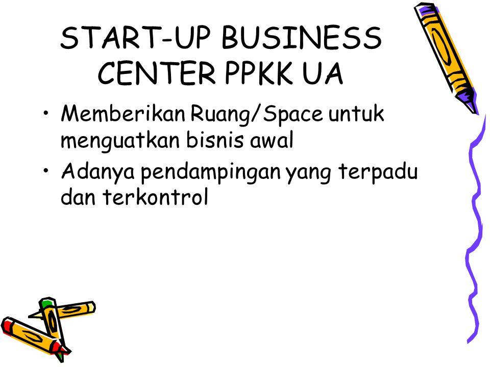START-UP BUSINESS CENTER PPKK UA Memberikan Ruang/Space untuk menguatkan bisnis awal Adanya pendampingan yang terpadu dan terkontrol