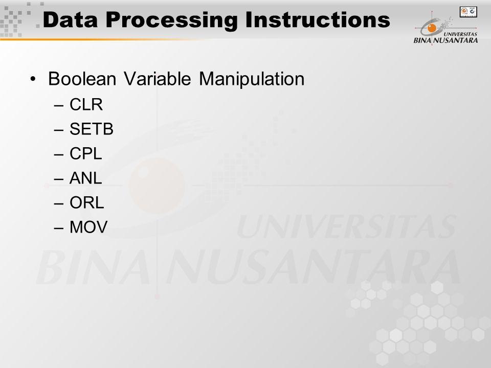Program Flow Control Instructions ACALL LCALL RET RETI AJMP LJMP JMP JC JNC JB JNB JZ JNZ CJNE DJNZ NOP
