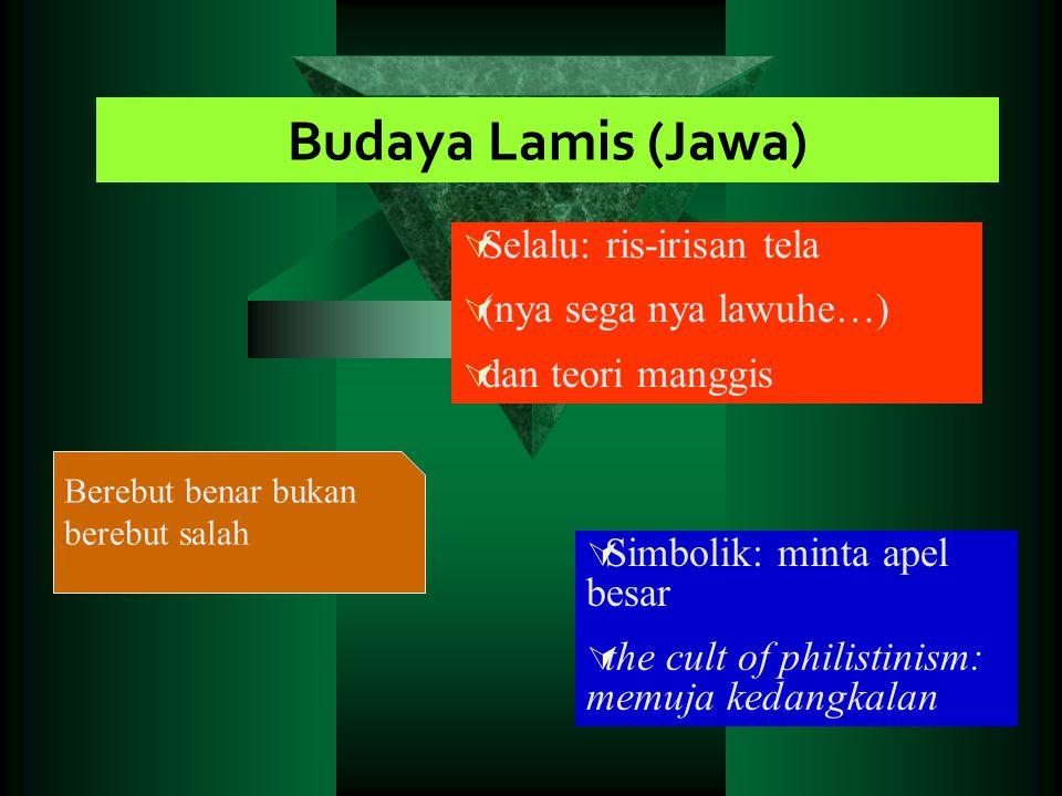 Budaya Lamis (Jawa)  Selalu: ris-irisan tela  (nya sega nya lawuhe…)  dan teori manggis  Simbolik: minta apel besar  the cult of philistinism: me