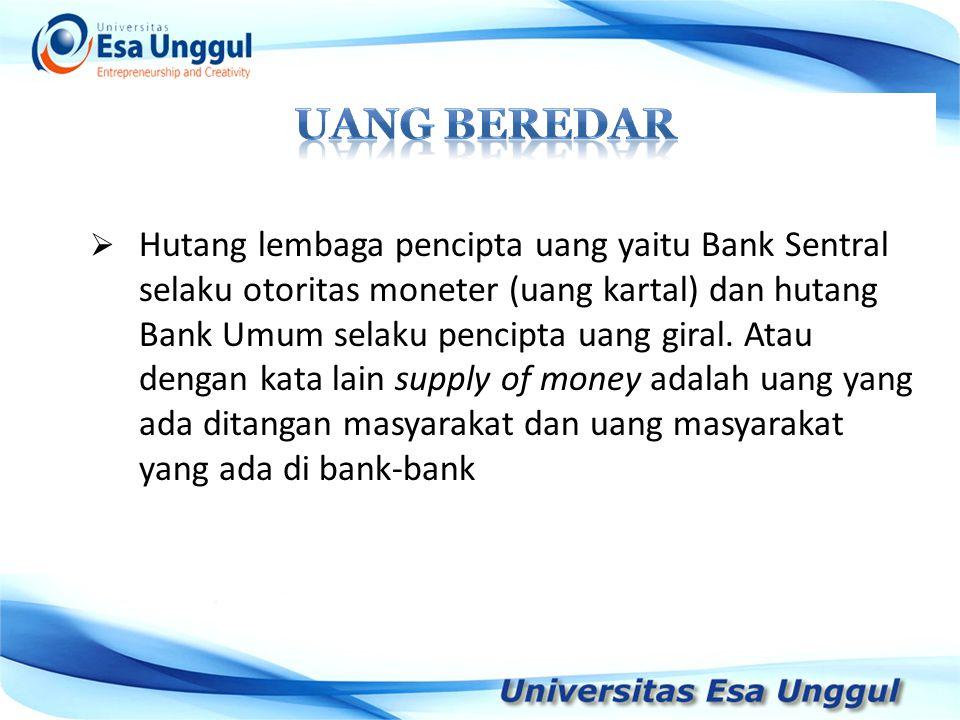  Hutang lembaga pencipta uang yaitu Bank Sentral selaku otoritas moneter (uang kartal) dan hutang Bank Umum selaku pencipta uang giral. Atau dengan k