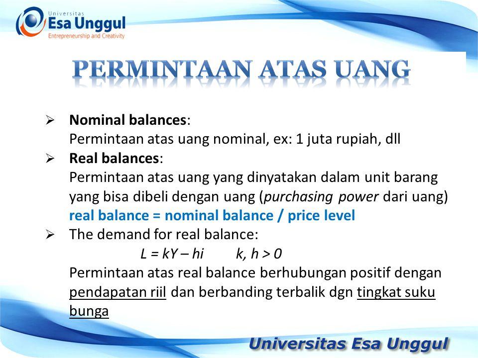  Nominal balances: Permintaan atas uang nominal, ex: 1 juta rupiah, dll  Real balances: Permintaan atas uang yang dinyatakan dalam unit barang yang
