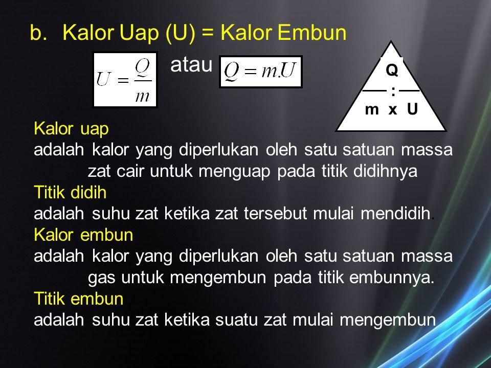 b.Kalor Uap (U) = Kalor Embun atau Q : m x U Kalor uap adalah kalor yang diperlukan oleh satu satuan massa zat cair untuk menguap pada titik didihnya
