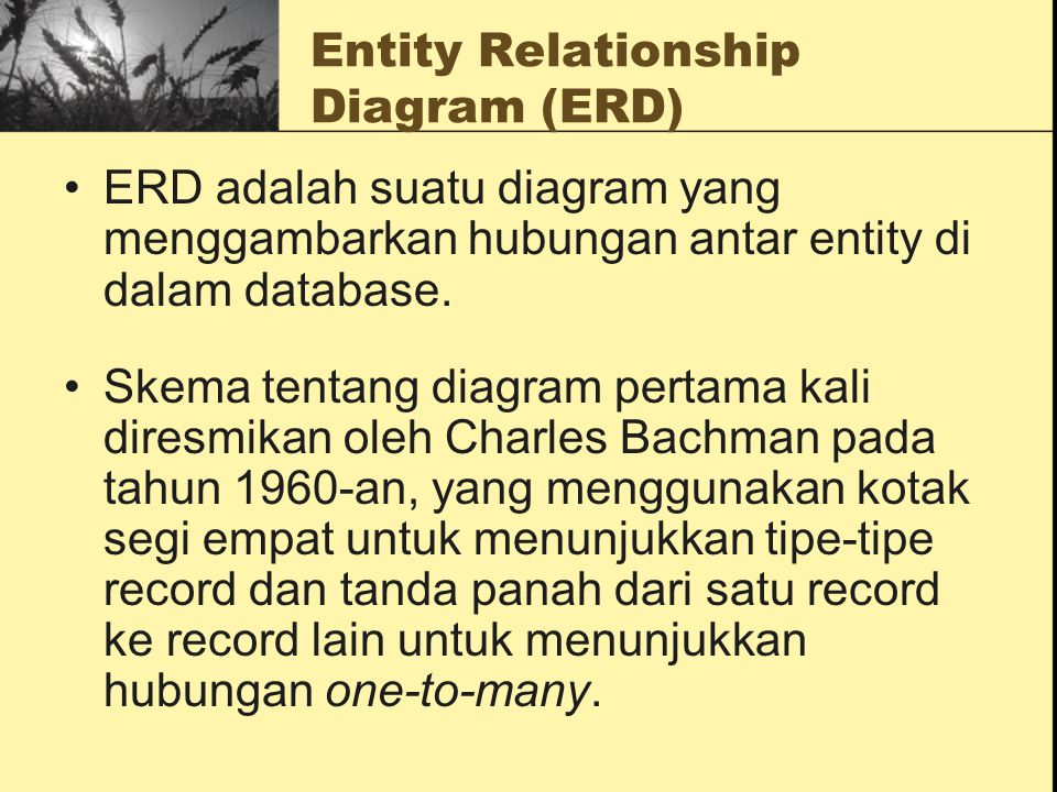 Entity Relationship Diagram (ERD) Ada beberapa model ERD yang di kemukakan oleh beberapa ahli, dan yang akan dibahas adalah model ERD menurut versi Peter Chen dan James Martin.