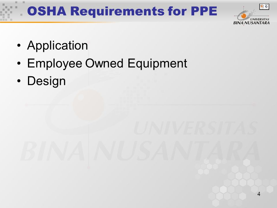 4 OSHA Requirements for PPE Application Employee Owned Equipment Design
