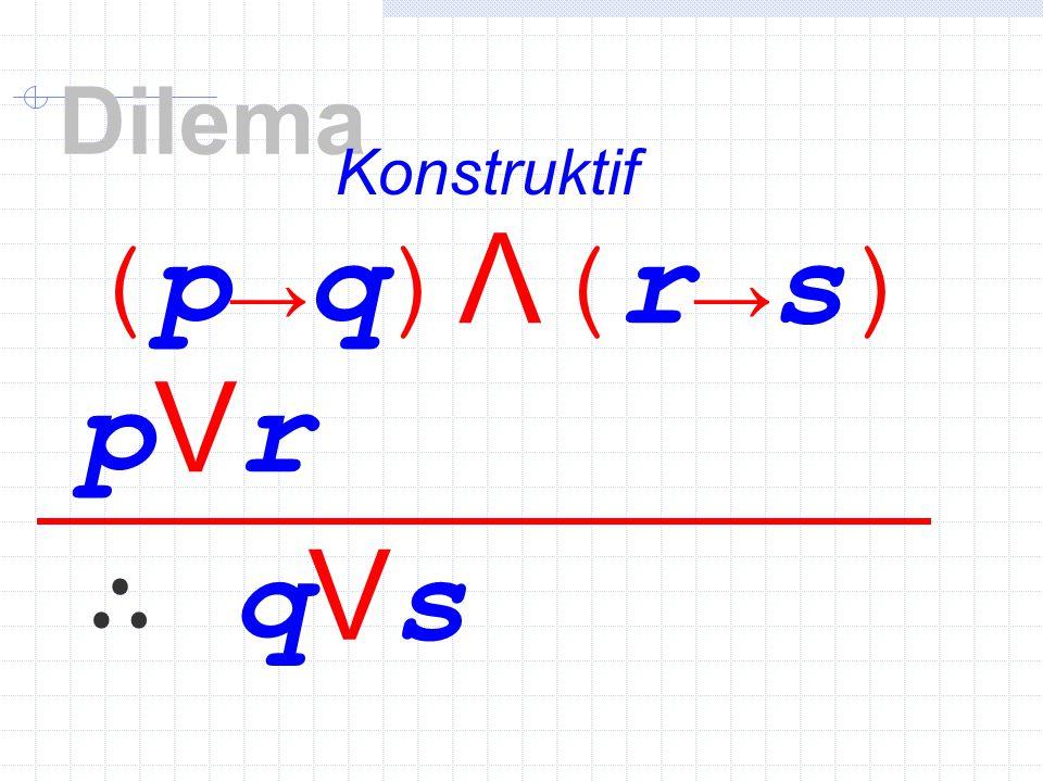 (p→q)Λ(r→s)(p→q)Λ(r→s) pVrpVr ∴ qVs Dilema Konstruktif