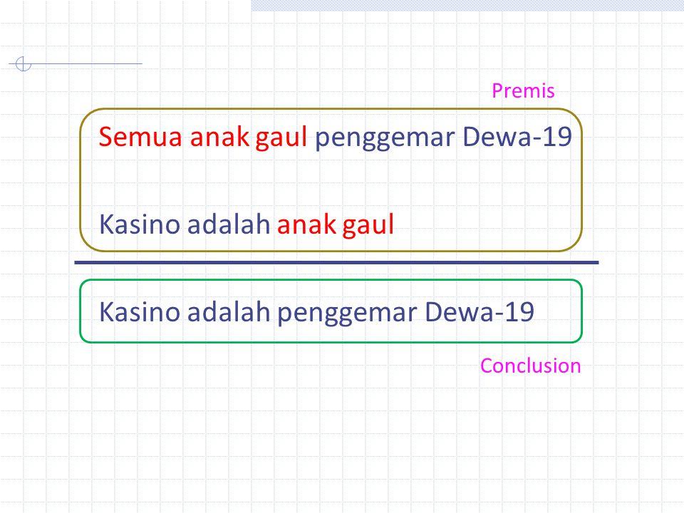 Semua anak gaul penggemar Dewa-19 Kasino adalah anak gaul Kasino adalah penggemar Dewa-19 Premis Conclusion