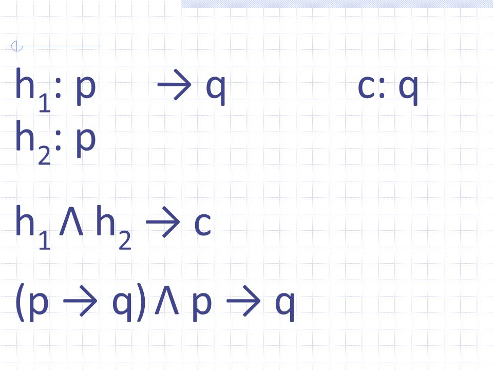 h 1 : p h 2 : p → qc: q h 1 Λ h 2 → c (p → q) Λ p → q