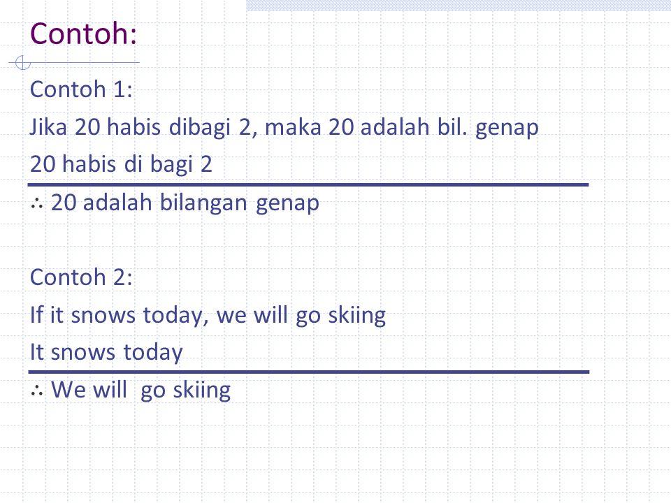 Contoh: Contoh 1: Jika 20 habis dibagi 2, maka 20 adalah bil. genap 20 habis di bagi 2 ∴ 20 adalah bilangan genap Contoh 2: If it snows today, we will