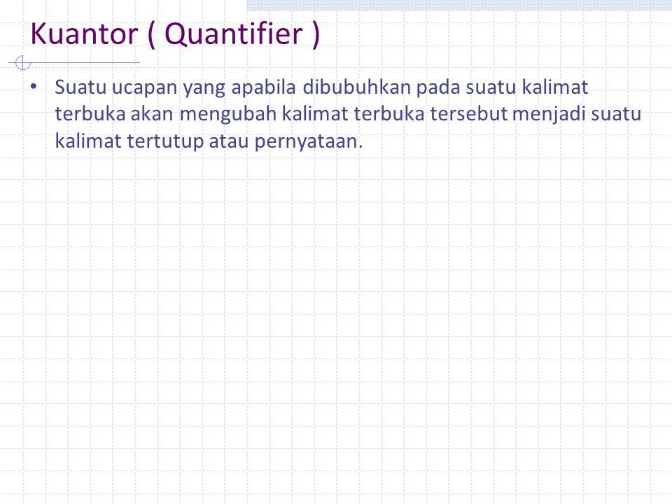 Kuantor ( Quantifier ) Suatu ucapan yang apabila dibubuhkan pada suatu kalimat terbuka akan mengubah kalimat terbuka tersebut menjadi suatu kalimat te