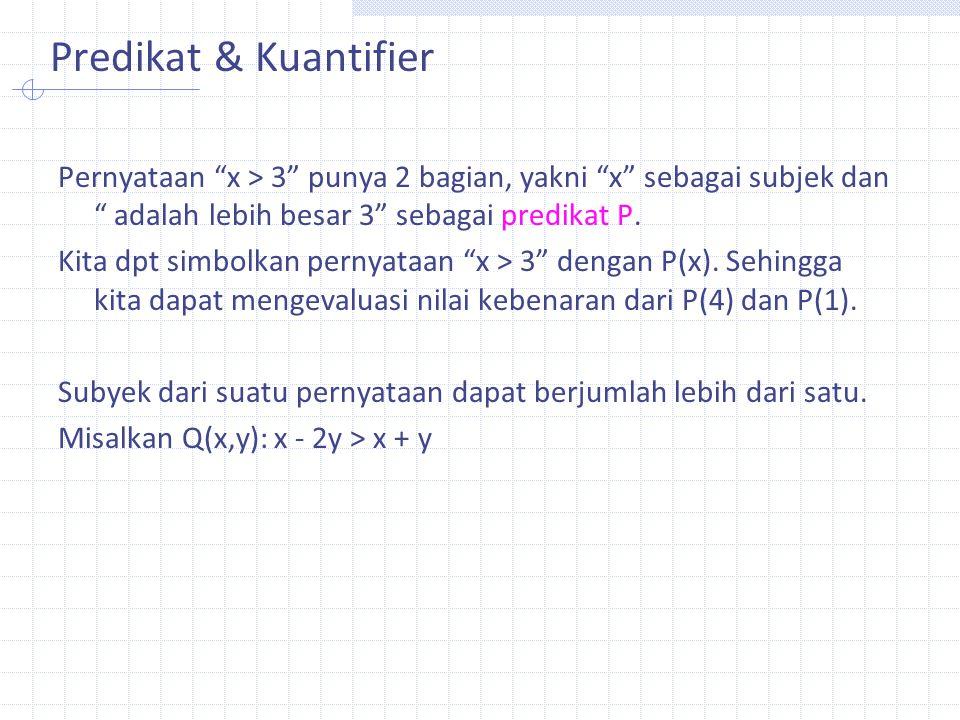 "Predikat & Kuantifier Pernyataan ""x > 3"" punya 2 bagian, yakni ""x"" sebagai subjek dan "" adalah lebih besar 3"" sebagai predikat P. Kita dpt simbolkan p"