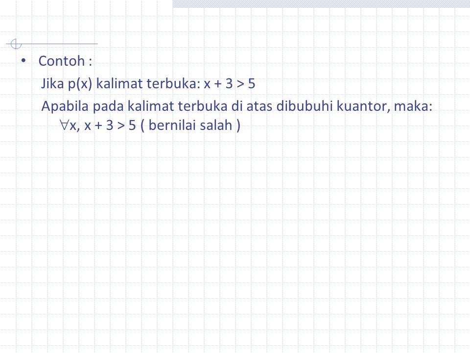Contoh : Jika p(x) kalimat terbuka: x + 3 > 5 Apabila pada kalimat terbuka di atas dibubuhi kuantor, maka:  x, x + 3 > 5 ( bernilai salah )