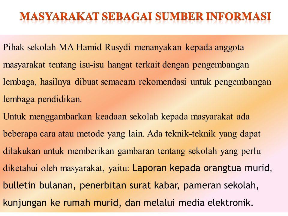 Pihak sekolah MA Hamid Rusydi menanyakan kepada anggota masyarakat tentang isu-isu hangat terkait dengan pengembangan lembaga, hasilnya dibuat semacam