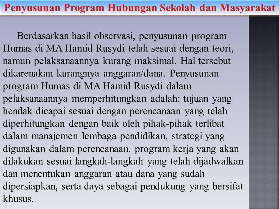 Berdasarkan hasil observasi, penyusunan program Humas di MA Hamid Rusydi telah sesuai dengan teori, namun pelaksanaannya kurang maksimal. Hal tersebut