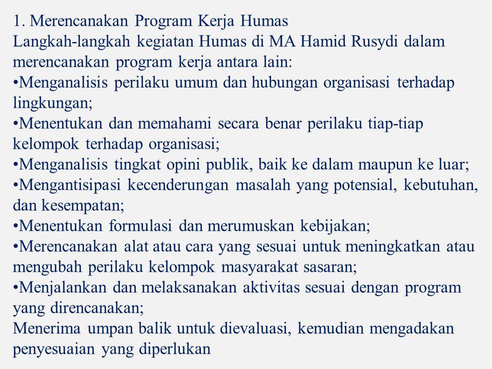 1. Merencanakan Program Kerja Humas Langkah-langkah kegiatan Humas di MA Hamid Rusydi dalam merencanakan program kerja antara lain: Menganalisis peril