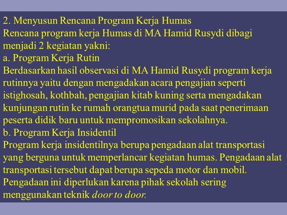 2. Menyusun Rencana Program Kerja Humas Rencana program kerja Humas di MA Hamid Rusydi dibagi menjadi 2 kegiatan yakni: a. Program Kerja Rutin Berdasa