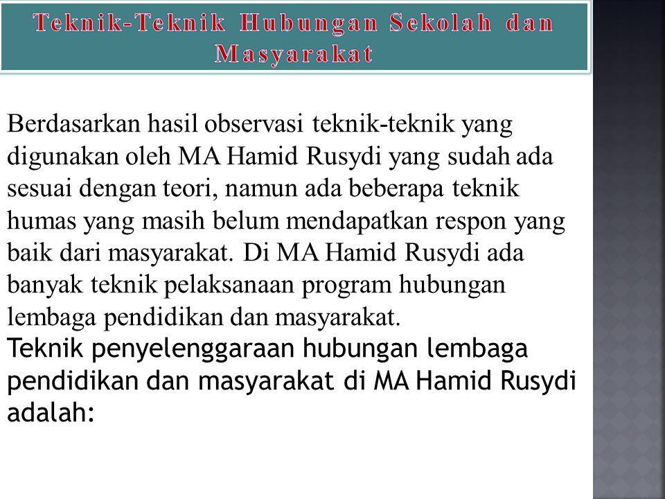 Berdasarkan hasil observasi teknik-teknik yang digunakan oleh MA Hamid Rusydi yang sudah ada sesuai dengan teori, namun ada beberapa teknik humas yang