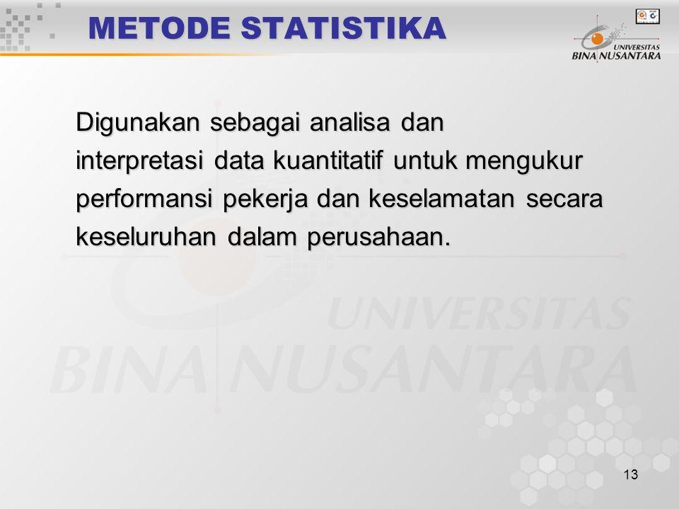 13 METODE STATISTIKA Digunakan sebagai analisa dan Digunakan sebagai analisa dan interpretasi data kuantitatif untuk mengukur interpretasi data kuantitatif untuk mengukur performansi pekerja dan keselamatan secara performansi pekerja dan keselamatan secara keseluruhan dalam perusahaan.