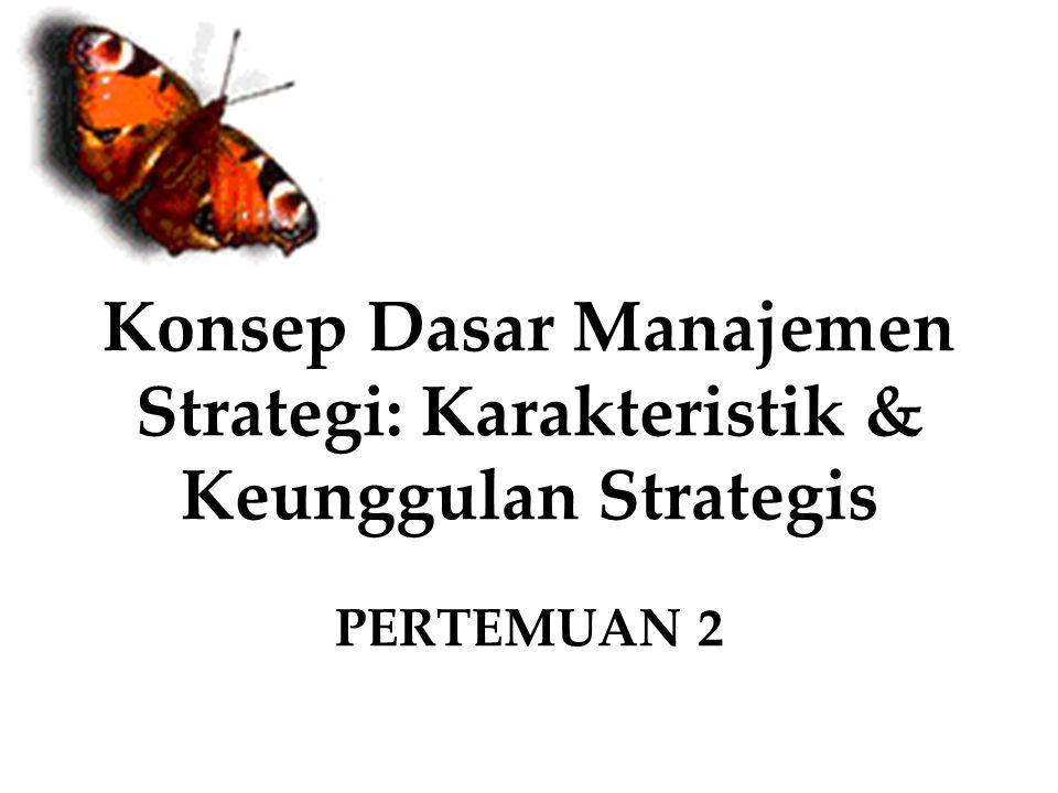 Manajemen Strategik Sekumpulan keputusan dan tindakan yang menghasilkan formulasi dan implementasi rencana yang dirancang untuk mencapai tujuan perushaan atau organisasi