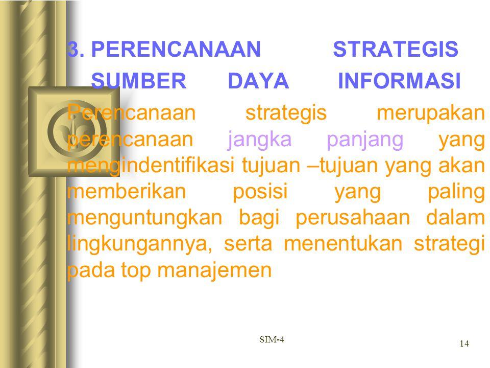 14 SIM-4 3. PERENCANAAN STRATEGIS SUMBER DAYA INFORMASI Perencanaan strategis merupakan perencanaan jangka panjang yang mengindentifikasi tujuan –tuju