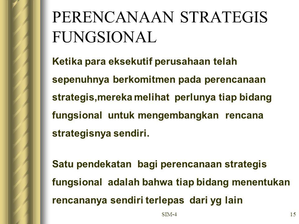 SIM-415 PERENCANAAN STRATEGIS FUNGSIONAL Ketika para eksekutif perusahaan telah sepenuhnya berkomitmen pada perencanaan strategis,mereka melihat perlu